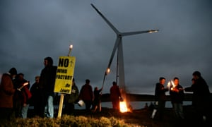 A wind farm protest on the Isle of Lewis, Scotland. MPs have called on ministers to consider raising a 'sovereign green bond' to stimulate low-carbon investment.