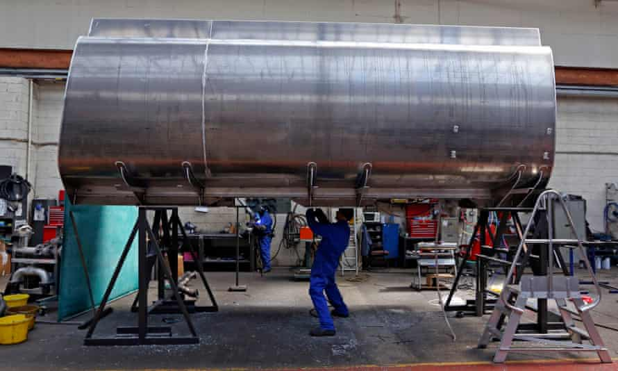 An aluminium tank being welded in Wakefield, Yorkshire