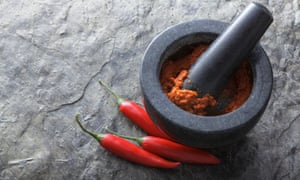 Thai red curry paste in a mortar and pestle