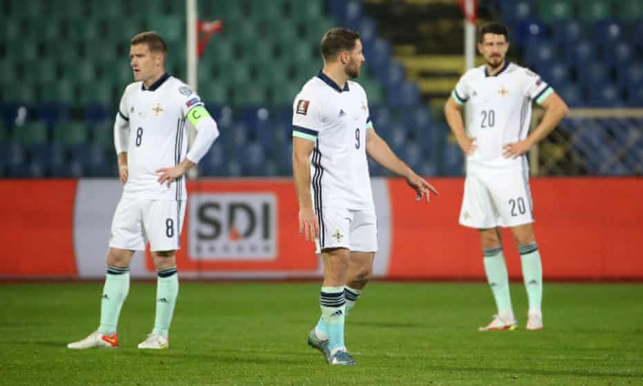 Northern Ireland's Steven Davis, Conor Washington and Craig Cathcart cannot hide their dejection during the defeat by Bulgaria in Sofia.