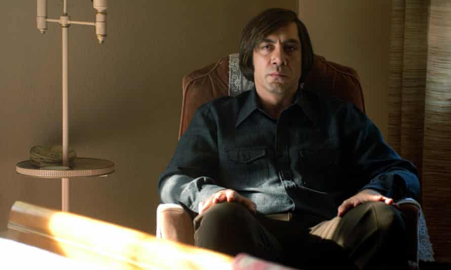 Javier Bardem as Anton Chigurh in No Country for Old Men (2007).