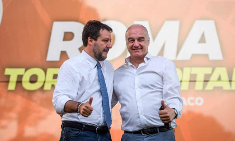 The far-right Brothers of Italy mayoral candidate, Enrico Michetti, right, with Matteo Salvini.