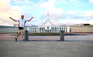 The annual pollies v press race around Parliament House. Darren Chester is a seasoned runner and had enough energy to play up to for the cameras as he passed the forecourt