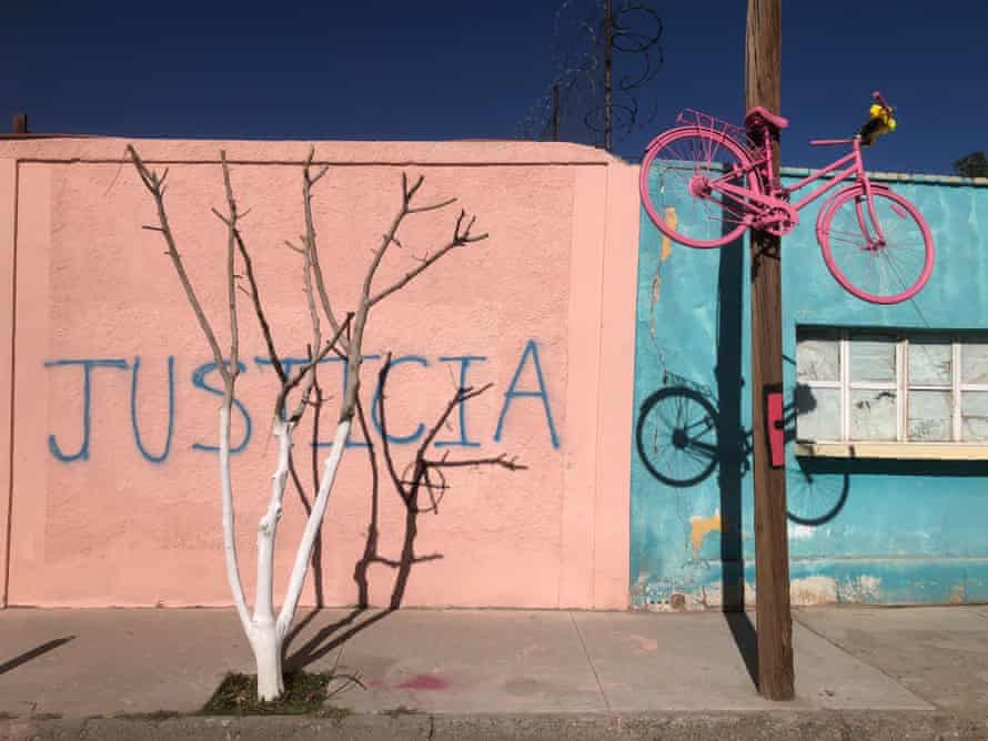 Images for Isabel Cabanillas story by Ed Vulliamy. Graffiti and pink bicycle at the scene of Isabel's murder, Calle Ochoa, C.J.