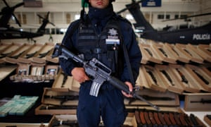 An arsenal allegedly seized from Los Zetas drug cartel of high-power rifles, grenades and ammunition