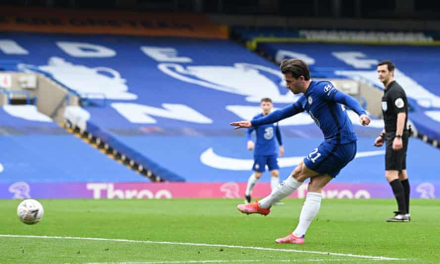 Ben Chilwell shoots and his effort was deflected into the net by Sheffield United's Oliver Norwood to open the scoring for Chelsea on Sunday