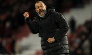 Wolves' manager Nuno Espirito Santo celebrates at full-time.