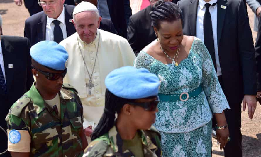 Pope Francis with Central African Republic's president, Catherine Samba-Panza.