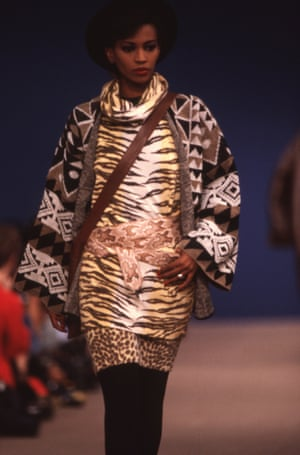 A model wears a tiger print, a trademark of Kenzo's designs, on the autumn-winter 1983 catwalk
