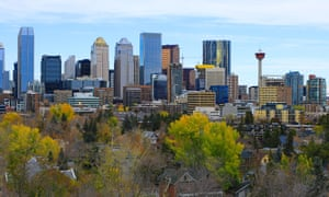 Calgary city centre with colourful autumn leaves