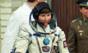 Britain's cosmonaut Helen Sharman prior to blast-off in 1991.