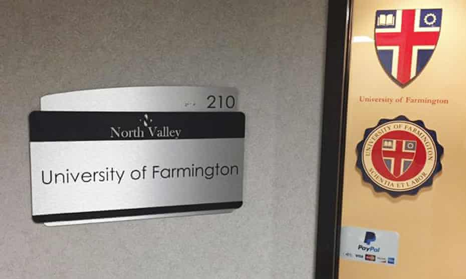 The office for the University of Farmington in suburban Detroit, Michigan, dispensed no classes and was uninterested in education.