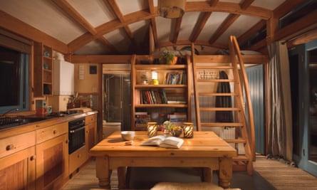 Interior of the Carpenter cabin at Devon Dens, UK.