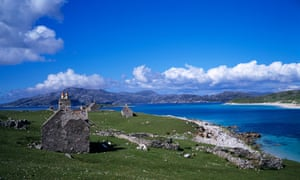 Abandoned settlement on the island of Scarp just off Harris in the Outer Hebrides, Scotland.