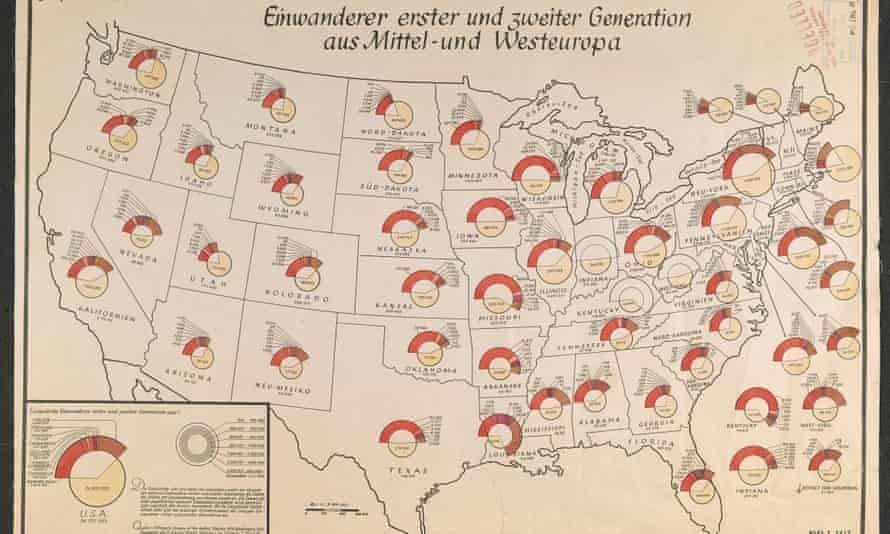 Nazi 1940 map plotting locations of European immigrants living in the US