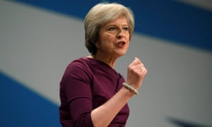 Theresa May speaking at the Conservative party conference