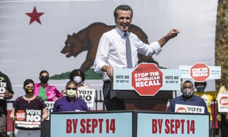 Harris Newsom, Santa Clara, California, United States - 08 Sep 2021<br>Mandatory Credit: Photo by Terry Schmitt/UPI/REX/Shutterstock (12433182k) California Governor Gavin Newsom speaks at a 'vote no on recall' rally at the IBEW-NECA Joint Apprenticeship Training Center in San Leandro, California on Wednesday, September 8, 2021. Vice President Kamala Harris joined him to urge voters to defeat the Republican lead recall with less than a week of voting to go. Harris Newsom, Santa Clara, California, United States - 08 Sep 2021
