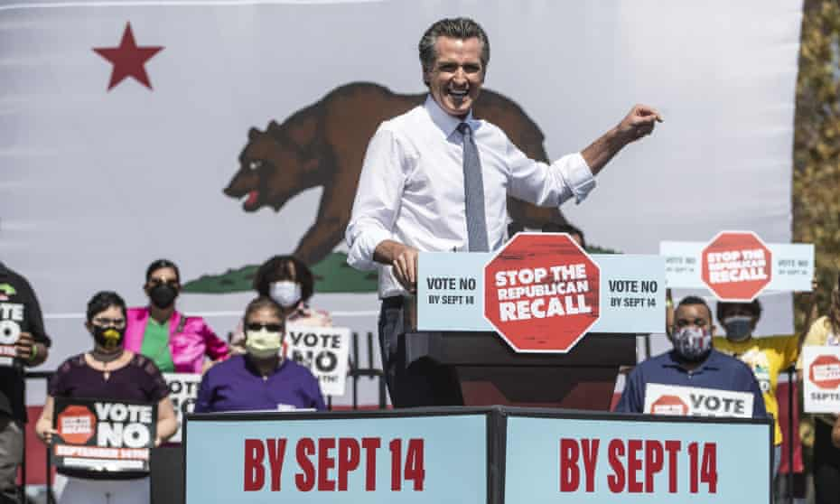 Gavin Newsom speaks at a 'vote no on the recall' rally in San Leandro, California, on Wednesday.