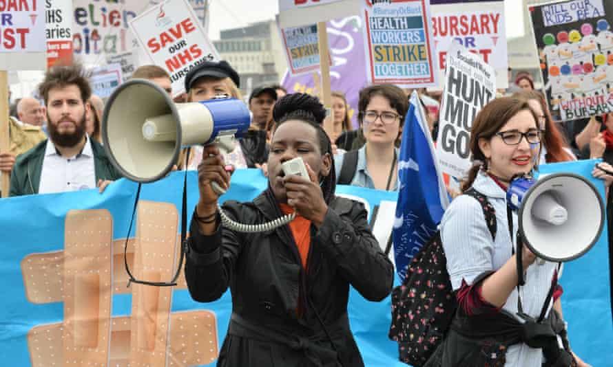Nurses's public demonstrations against bursary cuts