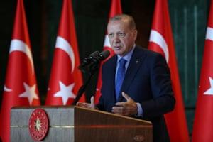 Turkey's President Erdogan addressing Turkish Ambassadors today.