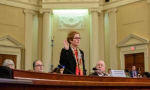 Marie Yovanovitch, the former US ambassador to Ukraine, is sworn in before testifying to the House intelligence committee last week.