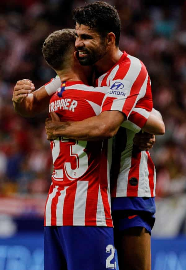 Trippier and Diego Costa celebrate after the win over Eibar