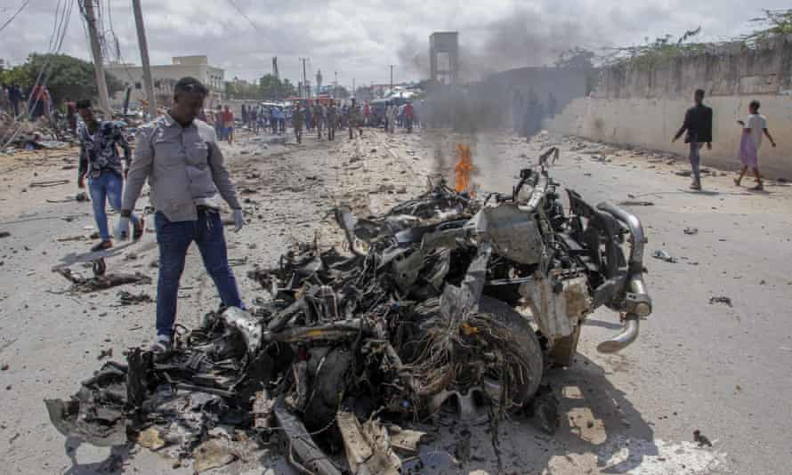 The wreckage of a suicide car bomb attack