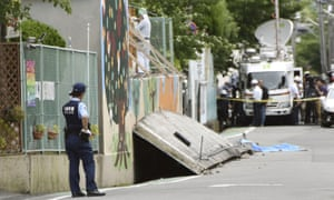 A girl was killed by a fallen wall caused by an earthquake at an elementary school in Takatsuki