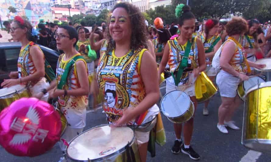 Instrumentalists from Batuke de Ciata, the mainly female group founded by Aunt Ciata's great-granddaughter Gracy Moreira, at the Rio Carnival.