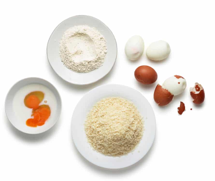 Felicity Cloake's scotch eggs -- Peel the eggs and prepare the coating