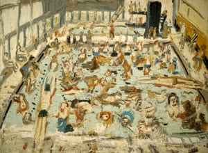 Children's Swimming Pool, 11 O'Clock Saturday Morning, August 1969, oil on board, by Leon Kossoff.