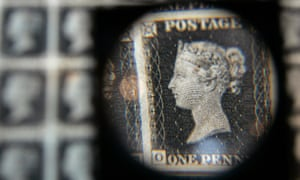 A British penny black stamp