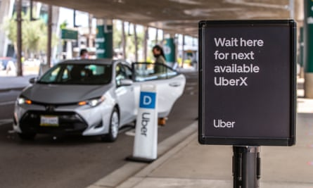 An Uber sign at San Diego airport, 20 August 2020.