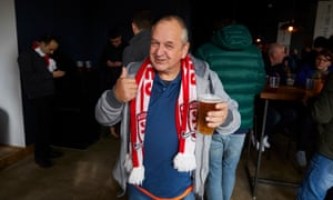 Middlesbrough fan in Hit the Bar which opened early to serve drinks and breakfast before the early kick-off.