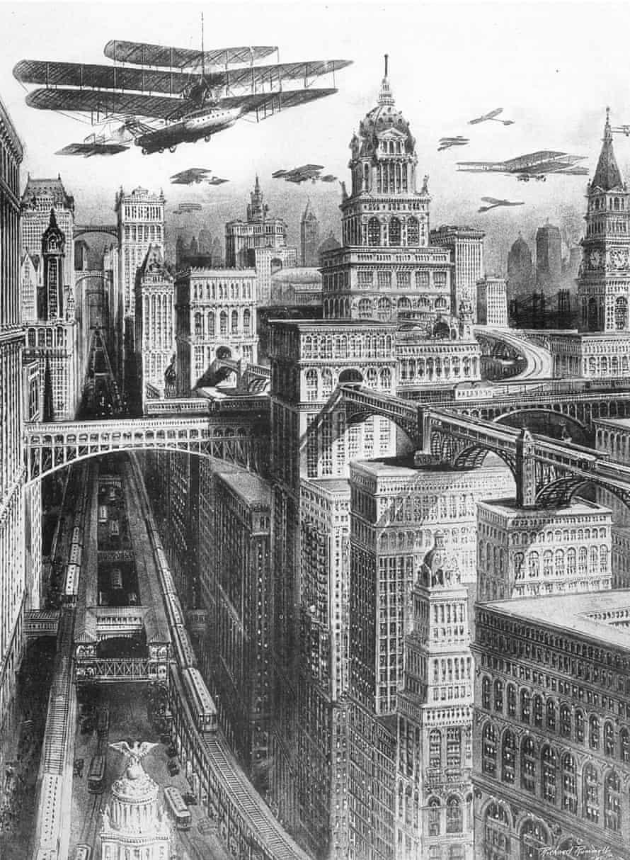 1911 illustration of a future New York