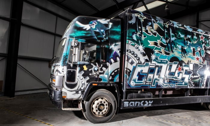 Graffiti-covered Banksy truck to be auctioned   Art and
