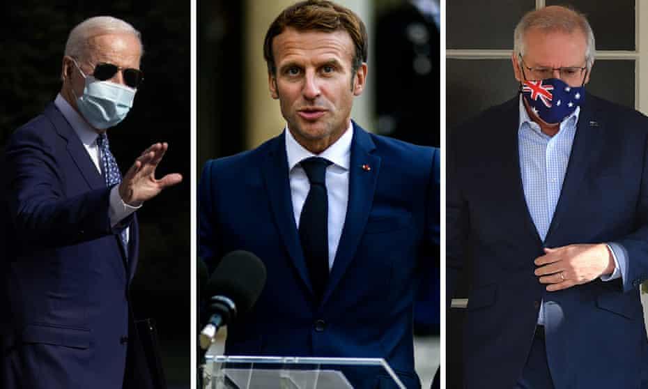 Joe Biden, Emmanuel Macron and Scott Morrison.