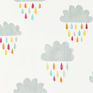 grey clouds with coloured rain drops orange blue green red yellow wallpaper