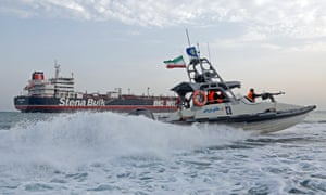 British flagged oil tanker 'Stena Impero' seized at Strait of Hormuzepa07731990 An Iranian Revolutionary Guard jet boat sails around the seized British-flagged tanker Stena Impero in Bandar Abbas, southern Iran, 21 July 2019. Media reported that Iranian Revolutionary Guard Corps (IRGC) claims to have seized Stena Impero at the Strait of Hormuz with 23 crew on board. Stena Bulk has issued a statement that 'UK registered vessel Stena Impero was approached by unidentified small crafts and a helicopter during transit of the Strait of Hormuz while the vessel was in international waters. On 20 July Stena Bulk informed that Head of Marine Affairs at the Port of Bandar Abbas is in contact with the crew members, who are in 'good health' and that Head of Marine Affairs has confirmed to them that no instructions have been received so far as to what will happen to the ship.' EPA/HASAN SHIRVANI