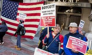 Demonstrators gather outside of the Trump International Hotel in Washington on Wednesday.