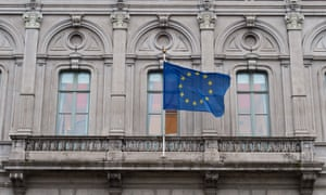An EU flag flying in Brussels