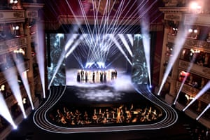 The women's world eleven players line up on stage at the Teatro alla Scala.