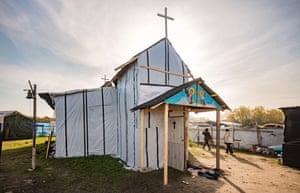 An Ethiopian church in the Calais Jungle, France, November 2015