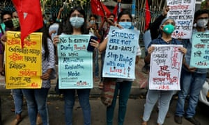 Students protest for the postponement of admission tests to medical and engineering schools amidst the spread of Covid-19 in Kolkata.