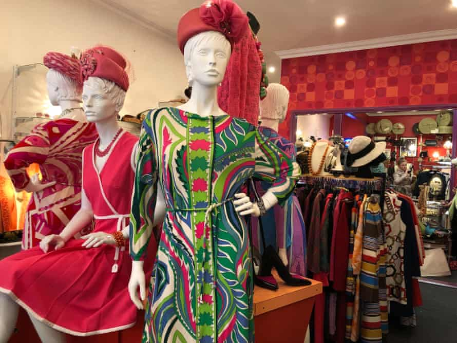 Mannequins in colourful retro outfits