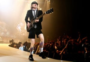 AC/DC lead guitarist Angus Young performs in London at the O2 Millenium Dome