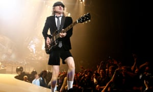 Hammering on ... Angus Young performs at the O2 Arena in London in 2009