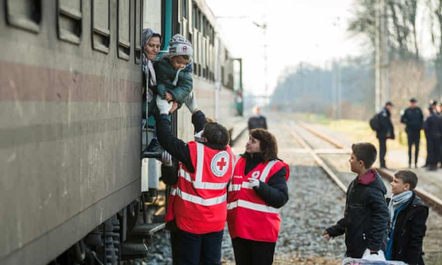 Refugees from Syria arrive by train in Croatia from the Serbian border.