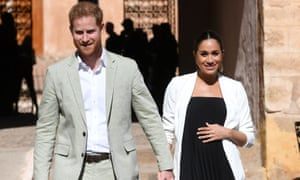 The Duke and Duchess of Sussex during their visit to the Andalusian Gardens in Rabat, Morocco, in February.