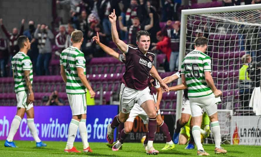 John Souttar celebrates his late winner for Hearts as they returned to the Scottish top flight in style